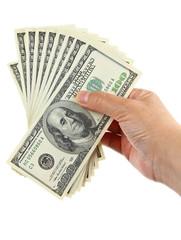 hand holding hundred dollar notes