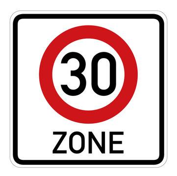 30 Zone, Verkehrsschild