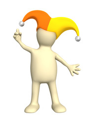 3d puppet, in a hat of the clown with bells