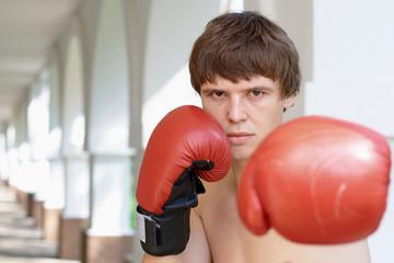 Fototapeta Boxer with copy space obraz
