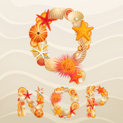 Wall Mural - Vector sea life font on sand background.