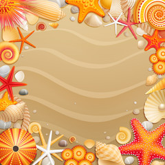 Wall Mural - Shells and starfishes on sand background.