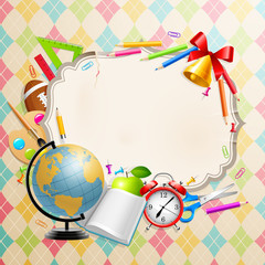 Wall Mural - Back to school greeting card with stationery.