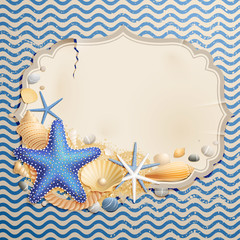 Wall Mural - Vintage greeting card with shells