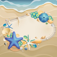 Wall Mural - Vintage greeting card on sand