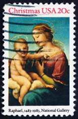 Postage stamp USA 1976 Painting Madonna and Child by Raphael