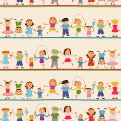 Boys and girls seamless pattern