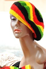 rastafarian hat on his head dummy