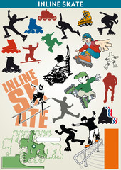 in-line skating vector elements