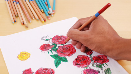 Hand Coloring In A Rose Drawing