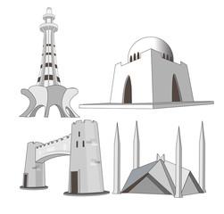 Great Monuments of Pakistan icons landmark illustrations