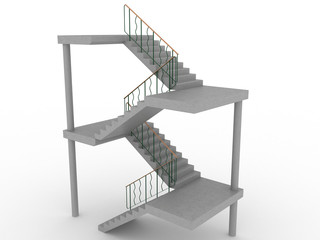 The concrete staircase with openings on a white background №1