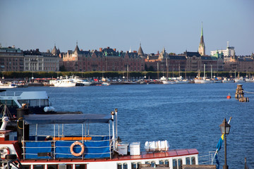 Stockholm, Sweden in Europe. Ship and architecture