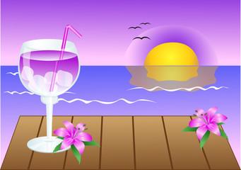 lila cocktail bei sonnenuntergang