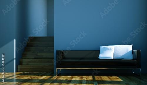 wohndesign schwarzes sofa vor blauer wand stockfotos und lizenzfreie bilder auf. Black Bedroom Furniture Sets. Home Design Ideas