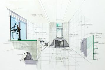 interior sketch by pencil and pen color