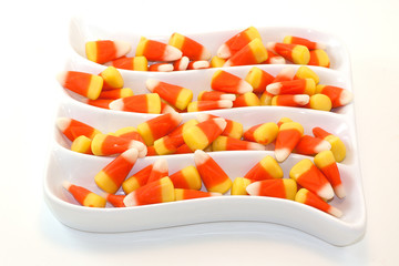 Candy Corn In A White Wavy Dish