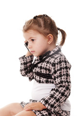 adorable baby business girl with phone