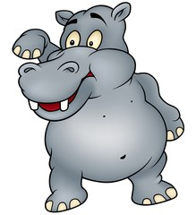 Hippo waving goodbye - Colored Cartoon Illustration