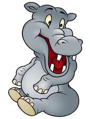 Sitting Hippo - Cheerful Cartoon Illustration