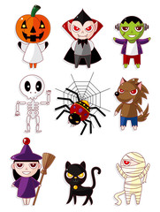 Cartoon Halloween monster icons