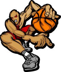 Basketball Player Cartoon Dribbling Basketball