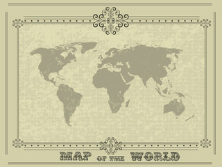 world map with vintage frame