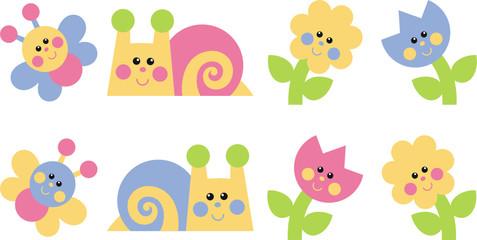 Butterflies, snails, flowers