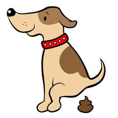 Happy cartoon dog pooping