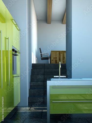 k chendesign gr ne k che im loft 2 stockfotos und lizenzfreie bilder auf bild. Black Bedroom Furniture Sets. Home Design Ideas