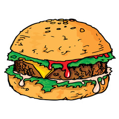 Illustration of a large juicy hamburger