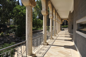 Colonnade in Church of Beatitudes, Capernaum.