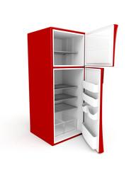 Empty fridge with opened doors