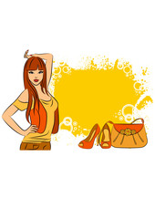 Beautiful girl with cartoon woman's bag and shoes