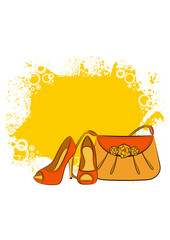 Cartoon woman's bag and shoes. Vector
