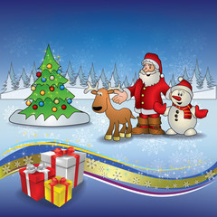 Christmas blue greeting with Santa deer snowmen and tree