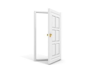 white door opened to white