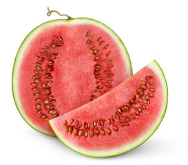 Isolated watermelon. Half of watermelon fruit and a slice with seeds isolated on white background