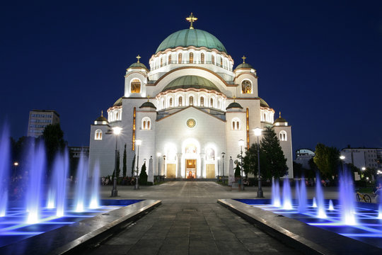 Cathedral of Saint Sava by night