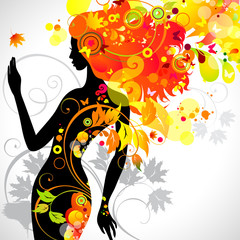 Door stickers Floral woman decorative composition with girl