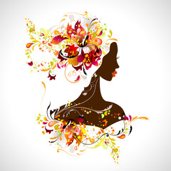Aluminium Prints Floral woman decorative composition with girl