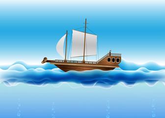 Beautiful Vector Sailing Boat