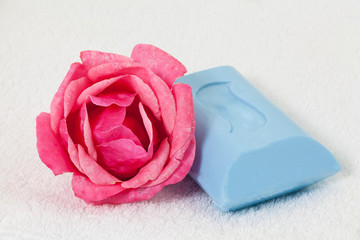 Rose and Soap on a Towel