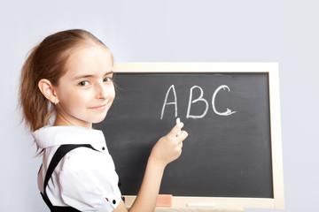 schoolgirl about a schoolboard