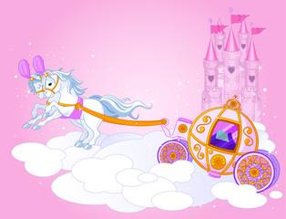 Canvas Prints Fairytale World Sky carriage illustration