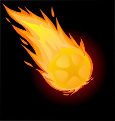 Fiery soccer ball on the black background