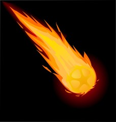 Fiery ball on the black background