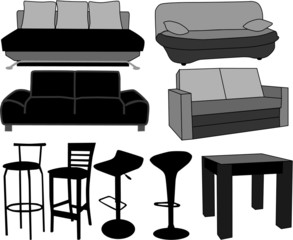 Furniture-home furnishings, working with vectors