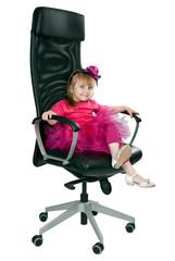 little girl in an office chair black