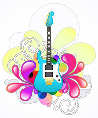 Abstract with blue electric guitar